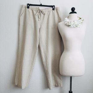 Liz Claiborne Classic Straight Leg Linen Pants